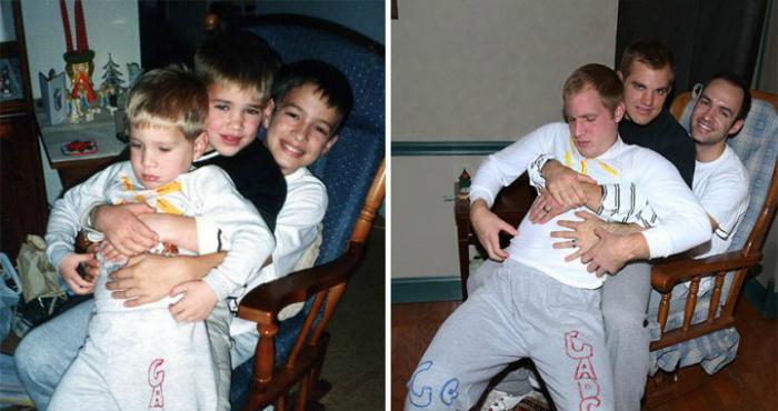 Братья оригинально воссоздали свои детские фотографии
